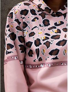 Print Leopard Långa ärmar Hoodie