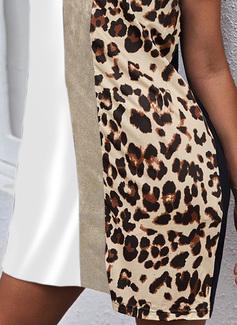 Leopardo Trozos de color Impresión Escotado por detrás Vestidos sueltos Sin mangas Mini Casual Vestidos de moda