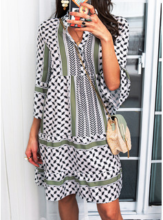 Print Skiftekjoler 3/4 ærmer Mini Boho Casual Tunika Mode kjoler