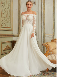 A-Line Off-the-Shoulder Sweep Train Tulle Lace Wedding Dress With Sequins