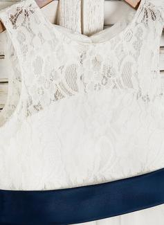 Forme Princesse Longueur mollet Robes à Fleurs pour Filles - Tulle/Dentelle Sans manches Col rond avec Ceintures/À ruban(s)/Trou noir (bande détachable)