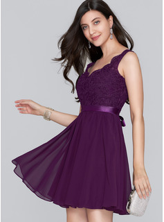 A-Line V-neck Short/Mini Chiffon Homecoming Dress With Bow(s)