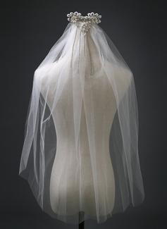 1 couche Bord de coupe Voile de mariée longueur coude avec Strass/De faux pearl