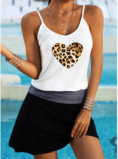 Leopard Print Skede Ærmeløs Mini Casual Typen Mode kjoler