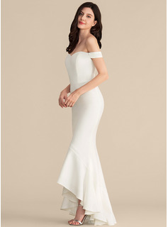 Trumpet/Mermaid Off-the-Shoulder Asymmetrical Stretch Crepe Evening Dress With Cascading Ruffles