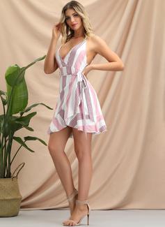 A righe A trapezio Senza maniche Mini Casuale Sexy Vacanza Tipo Coprispalle Vestiti di moda