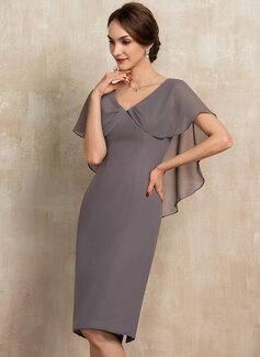 Sheath/Column V-neck Knee-Length Chiffon Mother of the Bride Dress With Ruffle