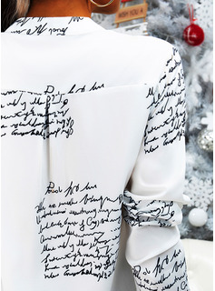 Figure Print V-Neck Long Sleeves Casual Blouses