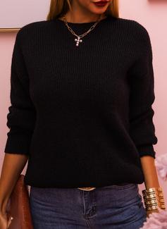 ラウンドネック カジュアル 固体 リブ編みの セーター
