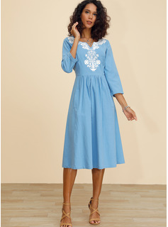 Algodón/Lino con Impresión Midi Vestido