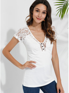 Lace Solid Short Sleeves Polyester V Neck T-shirt Blouses