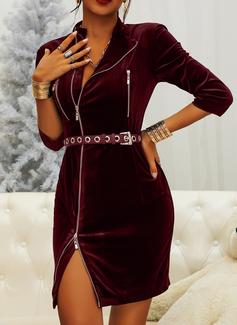 Solid Sheath 3/4 Sleeves Mini Little Black Casual Dresses
