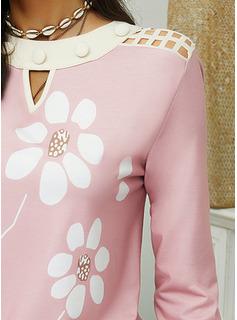 Floral Cuello Redondo Manga Larga Casual Blusas