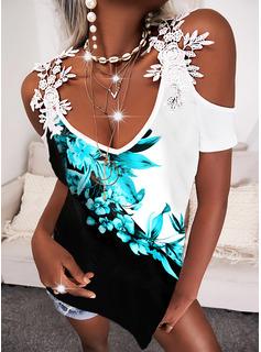 Color Block Floral Print Cold Shoulder Short Sleeves Elegant