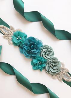 Beau Satiné Ceintures avec Une fleur