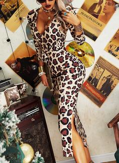 lampart Bodycon Długie rękawy Midi Elegancki Ołówkowa Modne Suknie