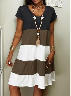 Color Block Skiftekjoler Korte ærmer Midi Casual T-shirt Mode kjoler