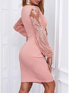 Sólido Cubierta Manga Larga Mini Elegante Vestidos de moda