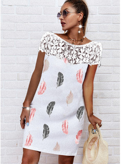 Print Shift Short Sleeves Midi Casual Dresses