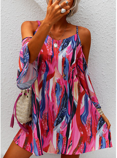 Print Shift Cold Shoulder Sleeve Long Sleeves Mini Casual Vacation Tunic Dresses