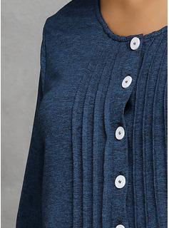 Solido Girocollo Maniche lunghe Bottone Camicie