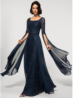 Sheath/Column Square Neckline Floor-Length Chiffon Lace Evening Dress With Beading Sequins