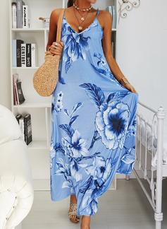 Цветочный Распечатать Прямые платья безрукавный Макси Boho Повседневная отпуск Тип Модные платья