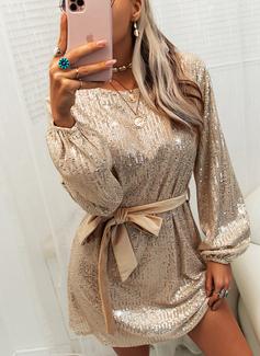 Pailletten Einfarbig Etui Lange Ärmel Mini Party Modekleider