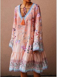 Floral Print Shift Long Sleeves Midi Casual Vacation Tunic Dresses