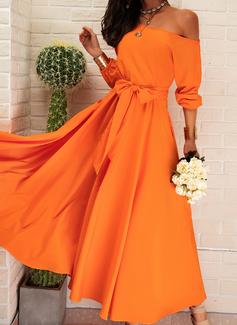 Solid Kjole med A-linje 1/2 ærmer Puf-ærmer Midi Party skater Mode kjoler