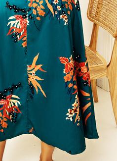 Floral Estampado Bainha Manga 3/4 Midi Elegante férias Vestidos na Moda