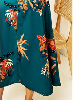 Floral Imprimeu Manşon Măneci Trei Sferturi Midi Zarif Tatil Moda Elbiseler
