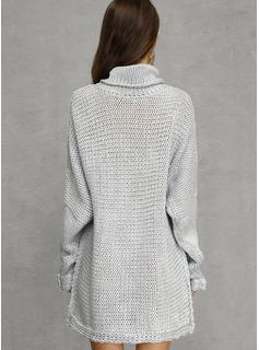 Cuello De Tortuga poliéster Mangas Largas Sólido Suéter/Vestidos De Suéter Vestidos de moda