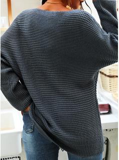 Solid One-Shoulder Lange ærmer Casual Skjorter