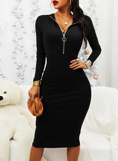 Solido Aderente Maniche lunghe Midi Piccolo nero Casuale Elegante Matita Vestiti di moda