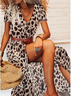Leopardo Impresión Vestido línea A Manga Corta Maxi Casual Vacaciones Patinador Vestidos de moda