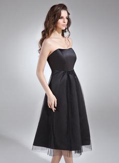 Robe Empire Amoureux Longueur genou Satiné Robe de demoiselle d'honneur - enceinte avec Plissé