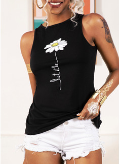 Impresión Floral Sin mangas poliéster Cuello redondo Camisetas sin mangas Blusas