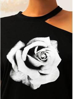 Floreale Stampa Una spalla Maniche corte Casuale Camicie