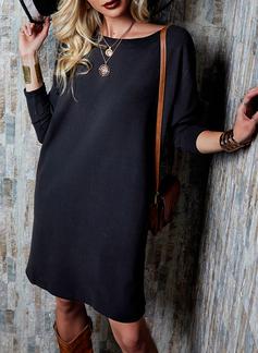 Solid Shift Long Sleeves Mini Little Black Casual Tunic Dresses