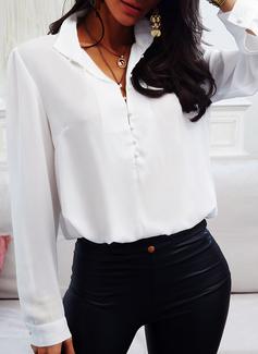 Sólido Cuello de Soporte Manga Larga Elegante Blusas