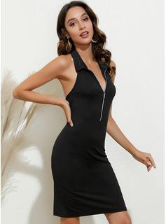 Solid Bodycon Sleeveless Mini Casual Sexy Dresses