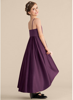 A-Line Scoop Neck Asymmetrical Satin Junior Bridesmaid Dress With Ruffle