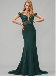 Trumpet/Mermaid Off-the-Shoulder Sweep Train Stretch Crepe Evening Dress With Lace Beading
