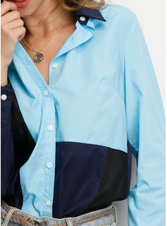 Blocchi di colore Risvolto Maniche lunghe Bottone Casuale Shirt and Blouses