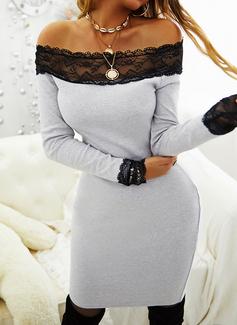 Pizzo Solido Aderente Maniche lunghe Mini Piccolo nero Casuale Elegante Vestiti di moda