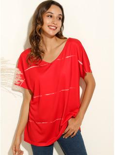 Print Short Sleeves Cotton Polyester V Neck T-shirt Blouses