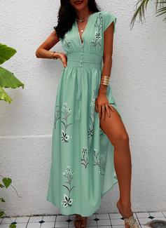 Blumen Druck A-Linien-Kleid Kurze Ärmel Maxi Lässige Kleidung Urlaub Skater Modekleider