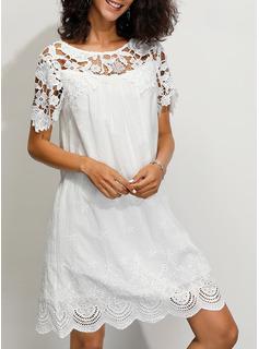 Pizzo Solido Abiti dritti 1/2 maniche Mini Casuale Elegante Reggiseno Tshirt Vestiti di moda