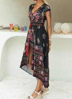 Floral Print A-line Short Sleeves Maxi Boho Vacation Skater Dresses